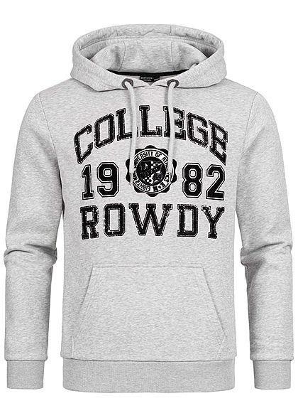 Eight2Nine Herren Sweat Hoodie Kapuze Kängurutasche College Rowdy Frontpatch hell grau
