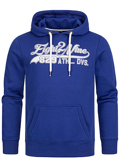 Eight2Nine Herren Sweat Hoodie Kapuze Kängurutasche Logo Frontprint cornflower blau - Art.-Nr.: 20094275