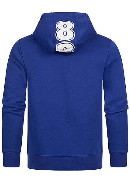 Eight2Nine Herren Sweat Hoodie Kapuze Kängurutasche Logo Frontprint cornflower blau