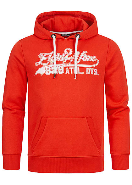 Eight2Nine Herren Sweat Hoodie Kapuze Kängurutasche Logo Frontprint fiery rot