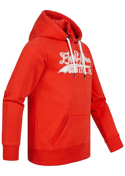 Eight2Nine Herren Sweat Hoodie Kapuze Kängurutasche Logo Frontprint fiery rot