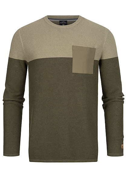 Sublevel Herren Ribbed 2-Tone Pullover Sweater Brusttasche oliv grün