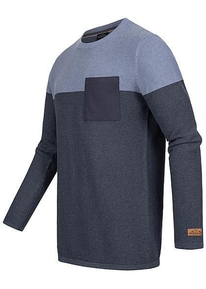 Sublevel Herren Ribbed 2-Tone Pullover Sweater Brusttasche navy blau melange