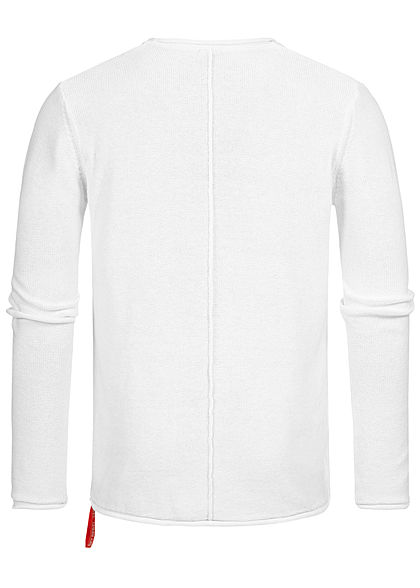 Eight2Nine Herren Struktur Pullover Sweater by Sky Rebel weiss