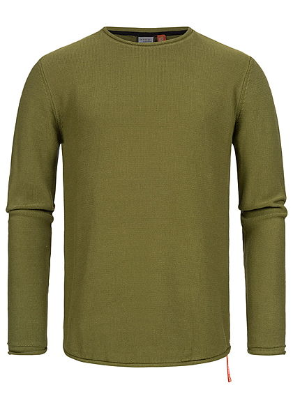 Eight2Nine Herren Struktur Pullover Sweater by Sky Rebel pickle grün
