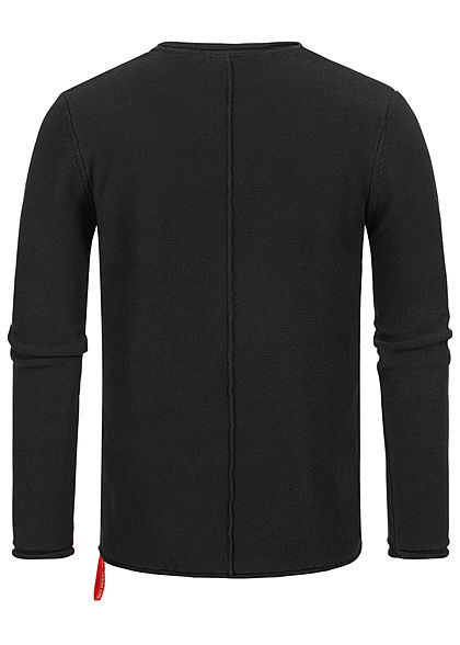 Eight2Nine Herren Struktur Pullover Sweater by Sky Rebel schwarz