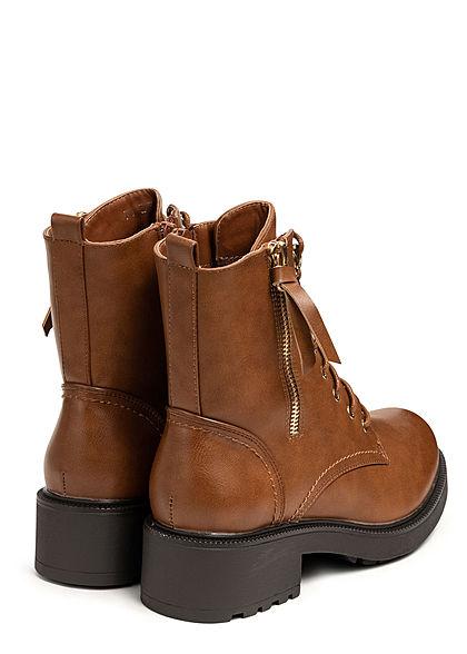 Seventyseven Lifestyle Damen Schuh Kunstleder Boots Schnürstiefelette camel braun