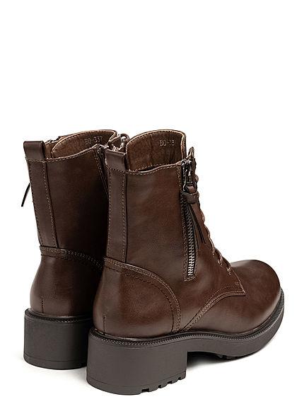 Seventyseven Lifestyle Damen Schuh Kunstleder Boots Schnürstiefelette dunkel braun
