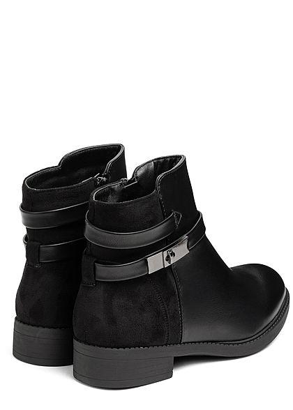 Seventyseven Lifestyle Damen Schuh Kunstleder Halbstiefel Deko Riemchen schwarz
