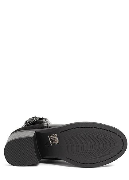 Seventyseven Lifestyle Damen Schuh Kunstleder Stiefelette Blockabsatz 6cm schwarz