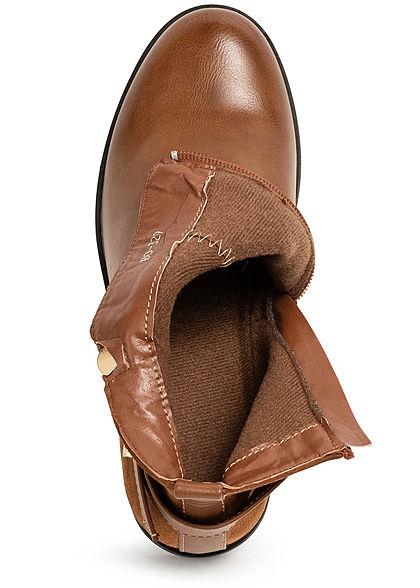 Seventyseven Lifestyle Damen Schuh Kunstleder Stiefelette Blockabsatz 6cm camel braun