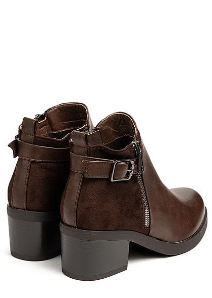 Seventyseven Lifestyle Damen Schuh Kunstleder Stiefelette Blockabsatz 6cm dunkel braun