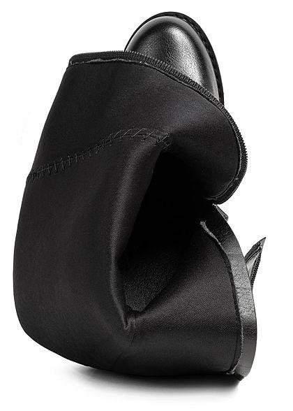 Seventyseven Lifestyle Damen Schuh Kunstleder Stiefel Blockabsatz 10cm schwarz