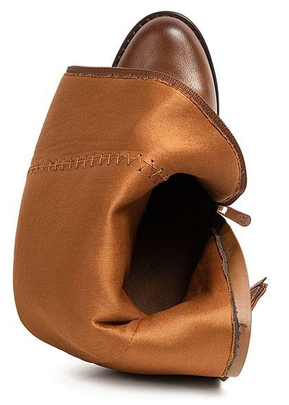 Seventyseven Lifestyle Damen Schuh Kunstleder Stiefel Blockabsatz 10cm camel braun