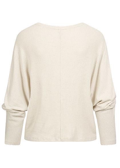 ONLY Damen 3/4 Fledermausarm Ribbed V-Neck Pullover oatmeal beige