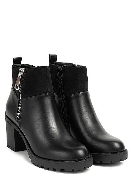 ONLY Damen Schuh Kunstleder Halbstiefelette Deko Zipper Blockabsatz 8cm schwarz