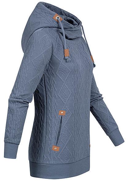 Hailys Damen Struktur Hoodie überlappende Kapuze 2-Pockets indigo blau