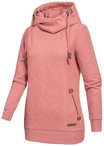 Hailys Damen Struktur Hoodie überlappende Kapuze 2-Pockets dusty dunkel rosa