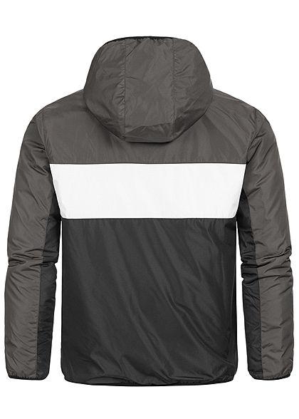 Brave Soul Herren Colorblock Übergangsjacke Kapuze 2-Pocket dunkel grau weiss schwarz