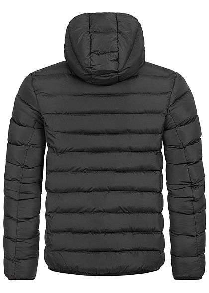 Brave Soul Herren Winter Steppjacke Kapuze 2-Pockets unicolor schwarz