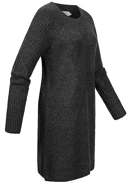 ONLY Damen NOOS Strucktur Strickkleid dunkel grau mel.