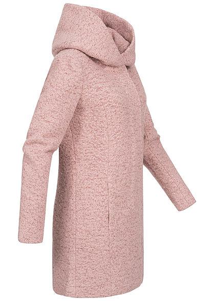 ONLY Damen Midi Woll Coatigan Jacke mit überlappender Kapuze 2-Pockets burlwood rosa mel.