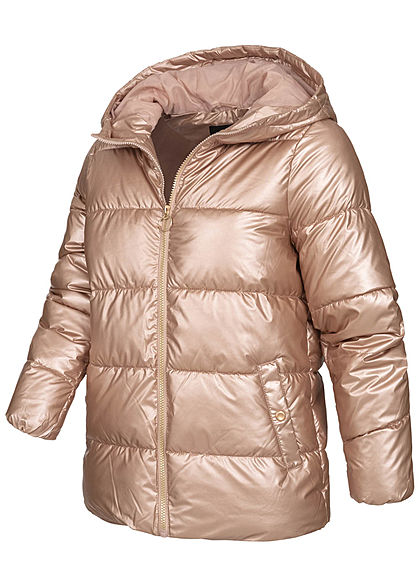 ONLY Damen Metallic Puffer Winter Steppjacke mit Kapuze 2-Pockets frosted almond rosa