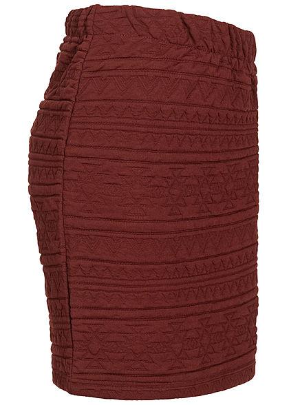 ONLY Damen Mini Rock mit Azteken Struktur Muster Zipper hinten fired brick rot
