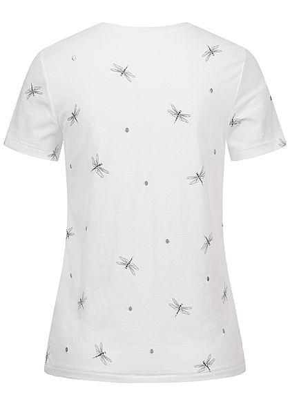 ONLY Damen T-Shirt Libellen Print & Stickerei bright weiss