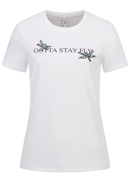 ONLY Damen T-Shirt Stay Fly Print mit Schmuckapplikationen bright weiss