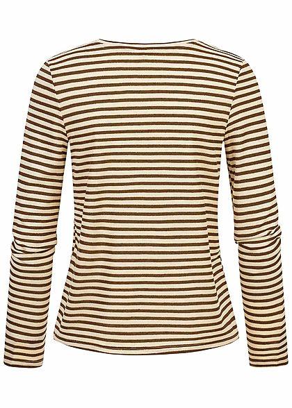 ONLY Damen Longsleeve Pullover Lurex Streifen Muster Glitzer rocky road braun