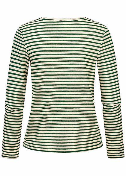 ONLY Damen Longsleeve Pullover Lurex Streifen Muster Glitzer smoke pine grün