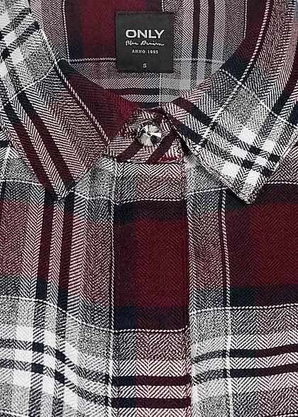ONLY Damen Long Blusen Hemd Karo Muster Knopfleiste Vokuhila weiss rot