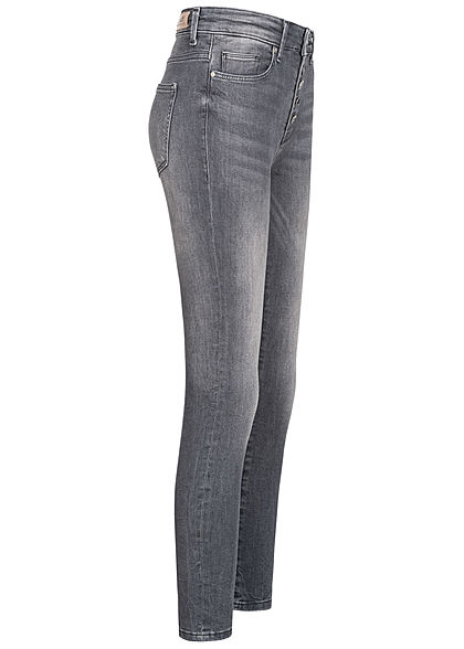 ONLY Damen Ankle Skinny Jeans Hose 5-Pockets High-Waist Knopfleiste grau denim