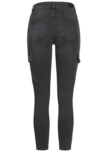 ONLY Damen Ankle Skinny Cargo Jeans Hose 7-Pockets Regular Waist schwarz denim