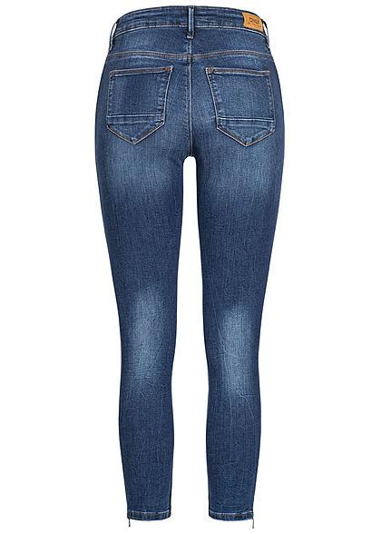 ONLY Damen Ankle Skinny Jeans Hose 5-Pockets Regular Waist Zipper dunkel blau denim