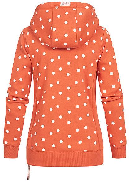 Sublevel Damen Hoodie Allover Punkte Muster mit überlappend. Kapuze mango rot weiss