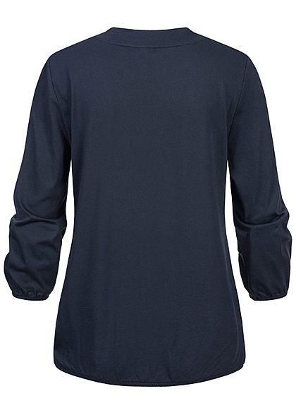 Tom Tailor Damen 7/8 Arm V-Neck Blusen Shirt Blumen Print Gummibund navy blau