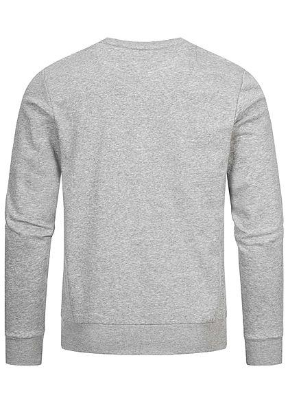 Brave Soul Herren Basic Sweater Pullover breite Rippbündchen hell grau navy