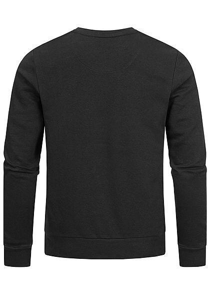 Brave Soul Herren Basic Sweater Pullover breite Rippbündchen schwarz grau
