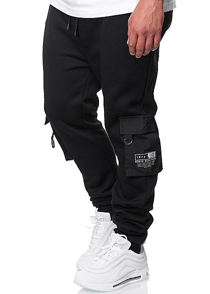Brave Soul Herren Cargo Sweat Pants Jogginghose 4-Pockets schwarz