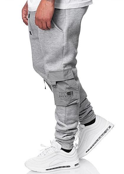 Brave Soul Herren Cargo Sweat Pants Jogginghose 4-Pockets hell grau melange