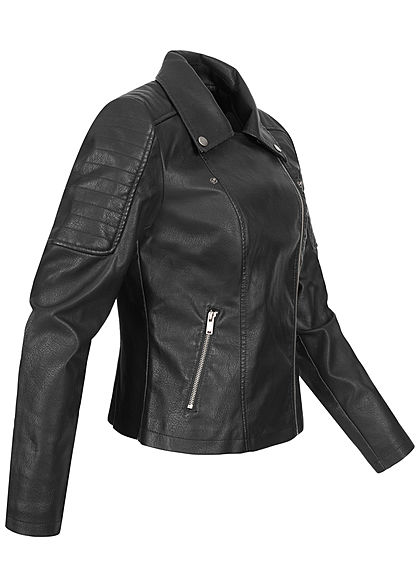 Noisy May Damen NOOS Biker Kunstleder Jacke 2-Pockets asymmtr. Zipper schwarz