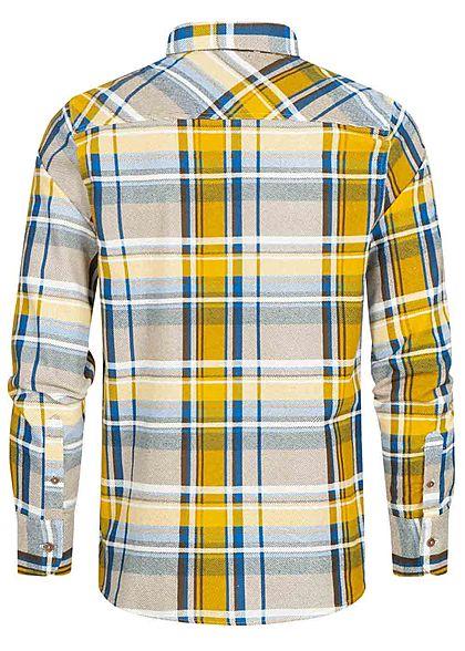 Brave Soul Herren Flanellhemd Karo Muster 2 Brusttaschen blau mustard gelb braun