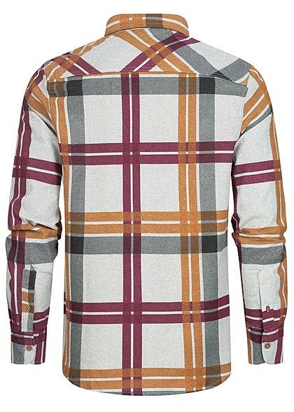 Brave Soul Herren Flanellhemd Karo Muster 2 Brusttaschen hell grau rust schwarz