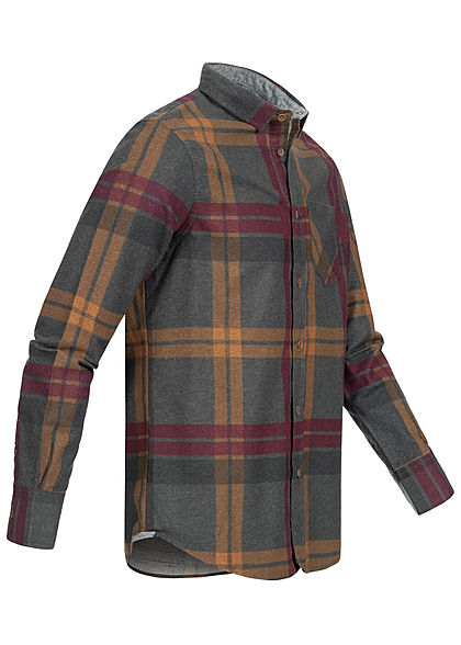Brave Soul Herren Flanellhemd Karo Muster 2 Brusttaschen dunkel grau rust schwarz