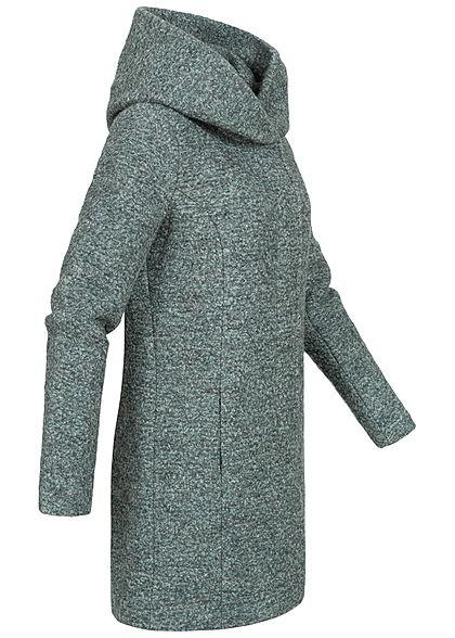 ONLY Damen NOOS Boucle Woll Coatigan Jacke überlappende Kapuze balsam grün melange