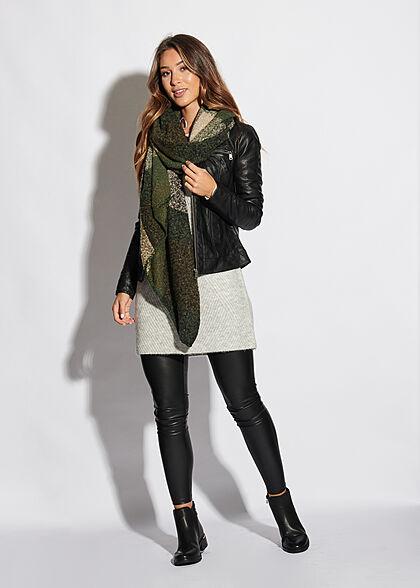 ONLY Damen NOOS Soft-Touch Schal 200x67cm Karo Muster asymmetrisch duffel bag grün