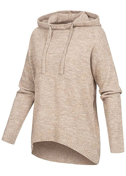 ONLY Damen Strick Hoodie Pullover mit Kapuze Tunnelzug Vokuhila toasted coconut beige
