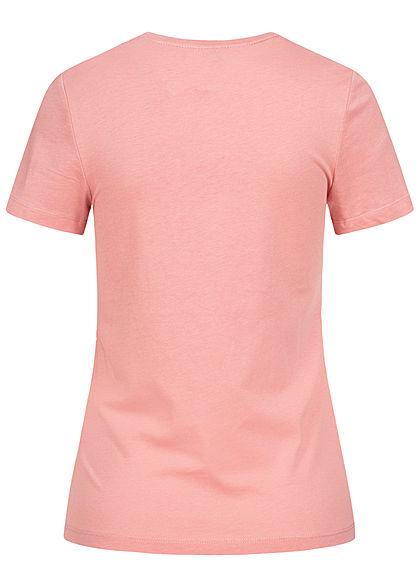 ONLY Damen T-Shirt Hunde Print & Stickerei Schriftzug Brusttasche blush rosa